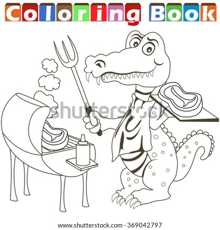 Vector illustration of a barbecue alligator for a coloring book. - stock vector