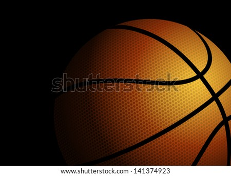 Vector illustration of a basketball on black background - stock vector