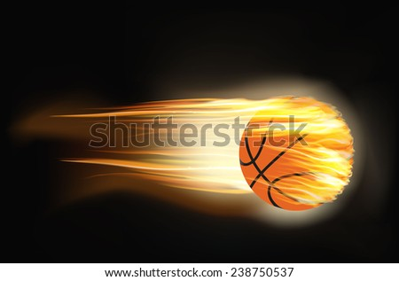 vector illustration of a basketball on fire - stock vector