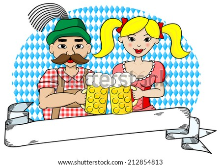vector illustration of a bavarian couple with oktoberfest beer and banner - stock vector