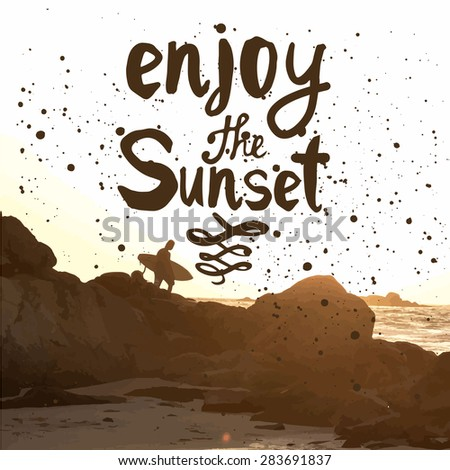 Vector illustration of a beach landscape. Summer sunset by the sea. Surfer with board on coastal rocks. Enjoy the sunset. - stock vector