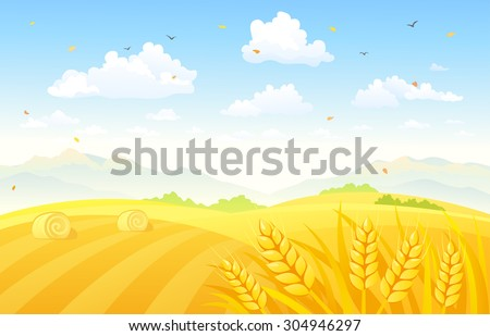 Vector illustration of a beautiful autumn background with wheat fields - stock vector