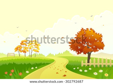 Vector illustration of a beautiful autumn park with bright foliage trees - stock vector