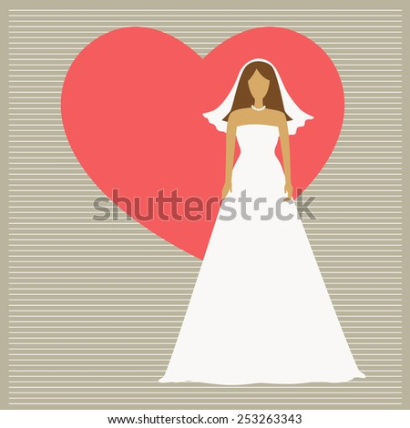 Vector Illustration of a Beautiful Bride  - stock vector