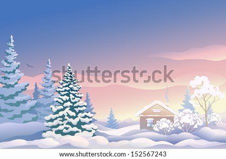 Vector illustration of a beautiful Christmas landscape with snow covered house and woods - stock vector