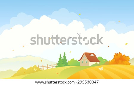 Vector illustration of a beautiful fall countryside landscape with a small house - stock vector