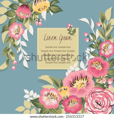 Vector illustration of a beautiful floral border with spring flowers. blue background - stock vector