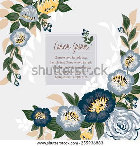 Vector illustration of a beautiful floral border with spring flowers. Light blue background - stock vector