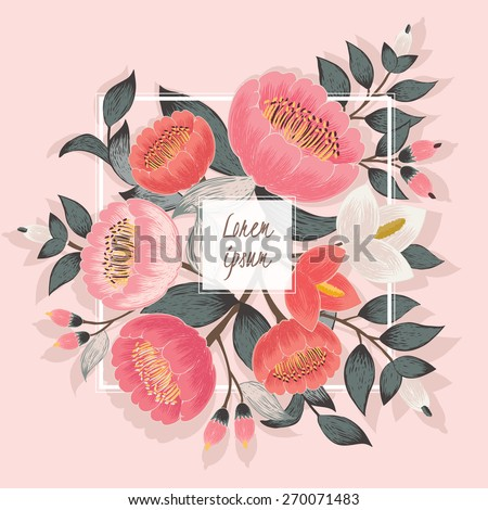 Vector illustration of a beautiful floral bouquet with white frame . Pink background - stock vector