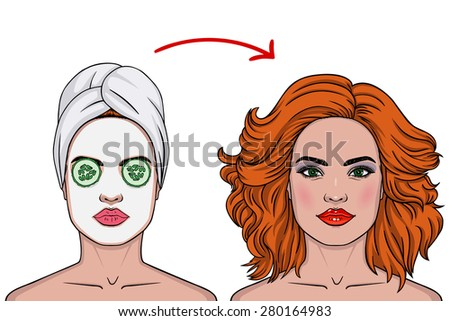 Vector illustration of a beautiful girl in a beauty salon. Vector illustration of a girl before and after. - stock vector