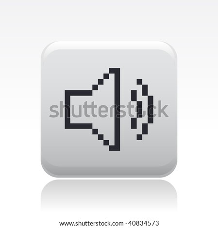 """Vector illustration of a beautiful gray icon isolated in a modern style with a reflection effect depicting a web symbol """"audio volume"""" in pixel - stock vector"""