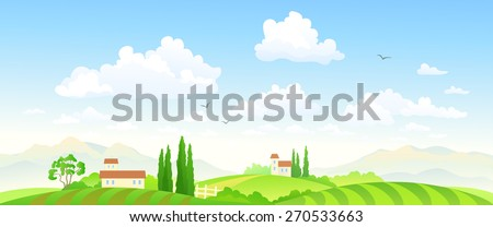 Vector illustration of a beautiful green farm scenery - stock vector