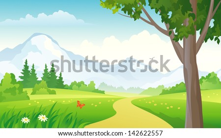 Vector illustration of a beautiful green landscape with a road to mountains - stock vector