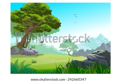 Vector illustration of a beautiful nature  - stock vector