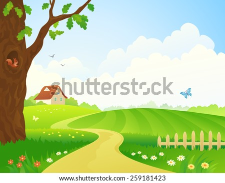 Vector illustration of a beautiful rural scene - stock vector