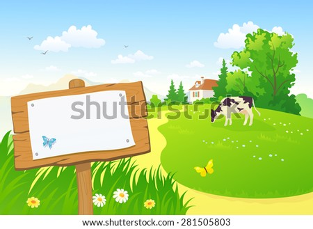 Vector illustration of a beautiful rural scene and a wooden sign with copy space - stock vector