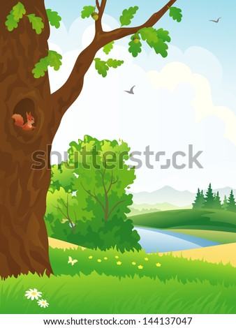Vector illustration of a beautiful scenic with an oak tree - stock vector