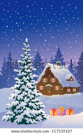 Vector illustration of a beautiful snowy cottage and Christmastree, vertical card - stock vector