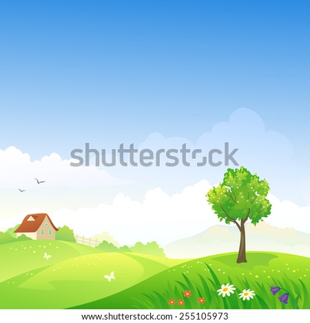 Vector illustration of a beautiful spring hilly landscape - stock vector