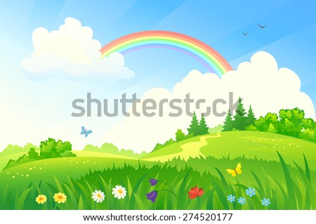 Vector illustration of a beautiful summer landscape with a rainbow - stock vector