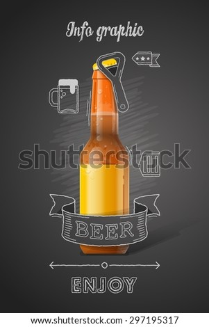 vector illustration of a beer bottle with infographic - stock vector