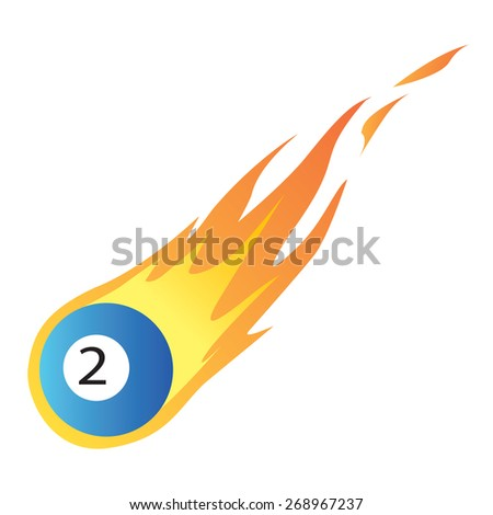 Vector illustration of a Billiard Ball in Fire isolated on white - stock vector