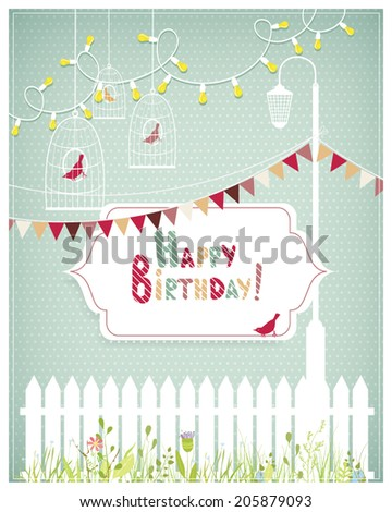 Vector illustration of a birthday card template with tender white frames, fence, lamp, bird cages on a polka dotted background. Vintage style. - stock vector