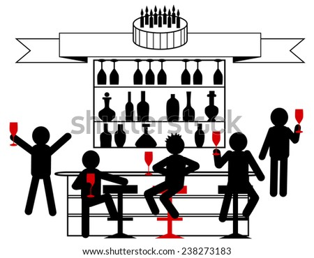 Vector illustration of a birthday celebration with friends in the bar - stock vector