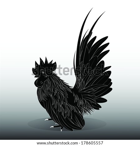 Vector illustration of a black Bantam - stock vector