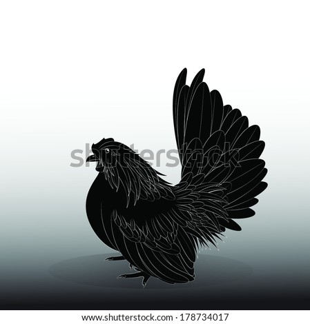 Vector illustration of a black Bantam,female - stock vector