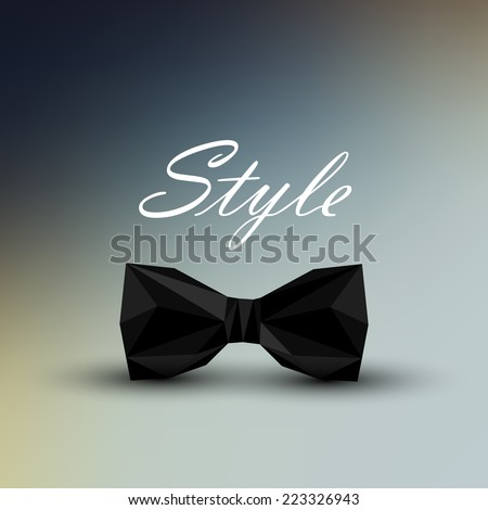 vector illustration of a black bow tie in low-polygonal style. men fashion style concept - stock vector