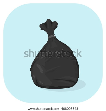 Vector illustration of a Black plastic garbage bag icon. Tied plastic trash sacks ready for disposal and garbage collection. - stock vector