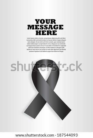 Vector illustration of a black ribbon on silver background. Layout design with copy space for campaign advertisement and poster. - stock vector
