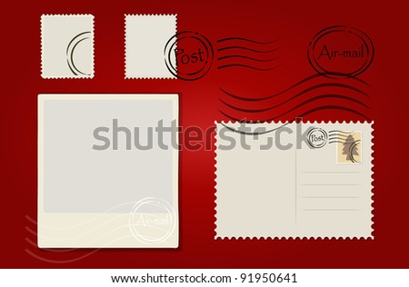 Vector illustration of a blank grunge post stamps and postcard on red background. - stock vector