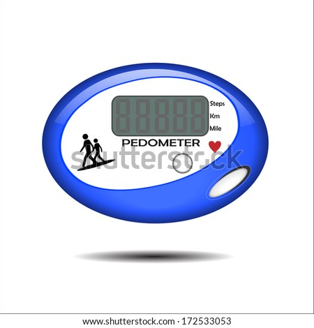 Vector Illustration of a Blue Pedometer - stock vector