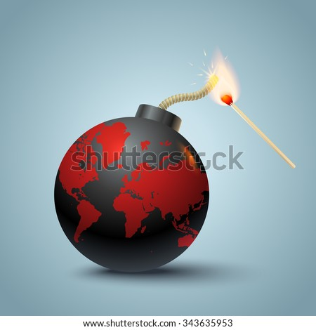 Vector illustration of a bomb with World map and match in fire - stock vector