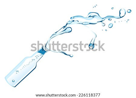 Vector illustration of a bottle with splashing water. - stock vector