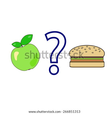 Vector illustration of a bright green apple with green leaves and a hamburger with a question mark between them. Healthy lifestyle concept. Choice concept. - stock vector