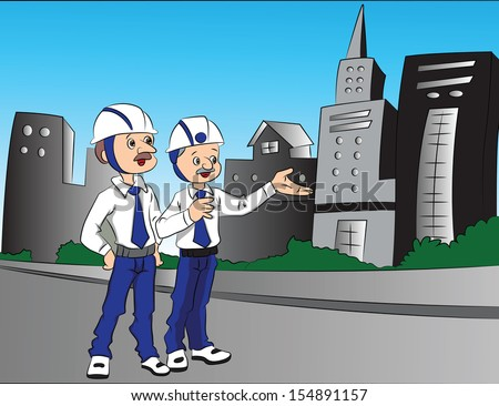 Vector illustration of a building contractor pointing something out on site to his partner. - stock vector