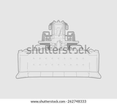 vector illustration of a bulldozer in lines. gray background. - stock vector