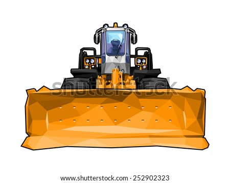 vector illustration of a bulldozer in polygonal style. Solid fill only, no gradients. - stock vector