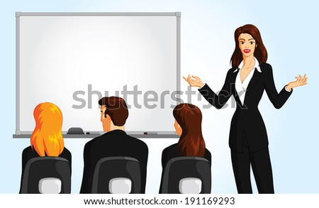 Vector illustration of a business presentation. - stock vector