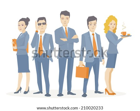 Vector illustration of a business team of young business people standing together on white background - stock vector