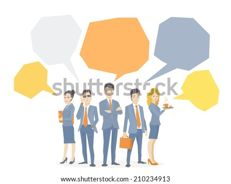 Vector illustration of a business team of young business people standing together with bright bubbles over their on white background  - stock vector