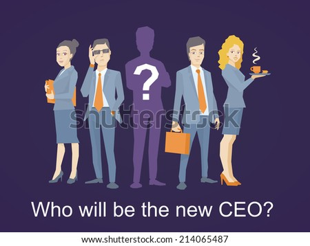 Vector illustration of a business team standing together in the center and the ceo silhouette with a question mark on dark background - stock vector