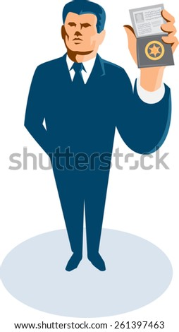 vector illustration of a businessman secret agent arms standing showing id card badge wallet facing front viewed from high angle done in retro art deco style. - stock vector
