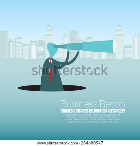 Vector illustration of a businessman with a spyglass observing his surroundings from a black pit hole. - stock vector