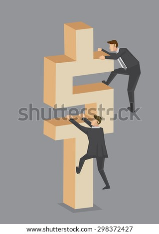 Vector illustration of a businessmen trying to climb to the top of dollar symbol block. Creative vector illustration on business and money making concept isolated on grey background. - stock vector