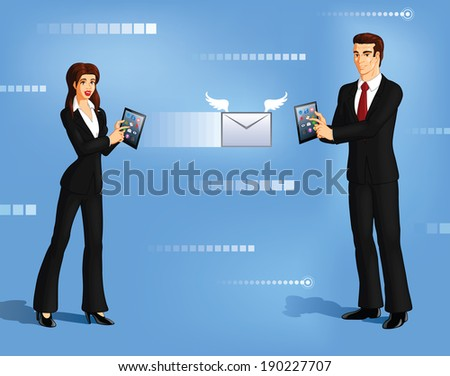 Vector illustration of a businesswoman sending an email to a businessman using touch tablet. - stock vector