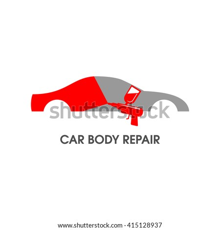 Vector illustration of a car body repair. Automotive concept useful for a pictogram, icon, logotype or signboard design.Transportation collection in gray and red color. - stock vector